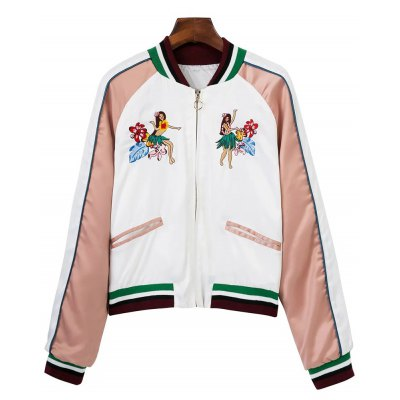 Tropical Embroidered Color Block Jacket