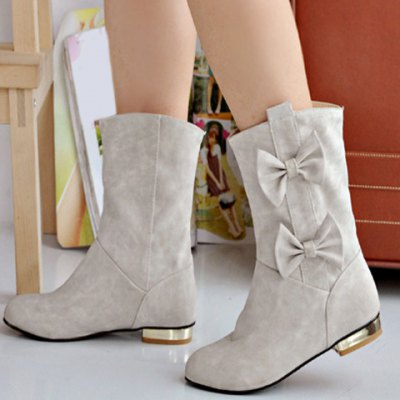 Bowknot Ruch Flat Suede Ankle Boots