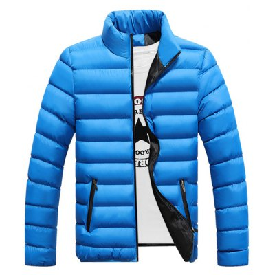 Stand Collar Contrast Zipper Quilted Jacket
