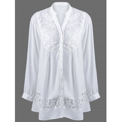 Plus Size Lace Trim Loose Fitting Blouse