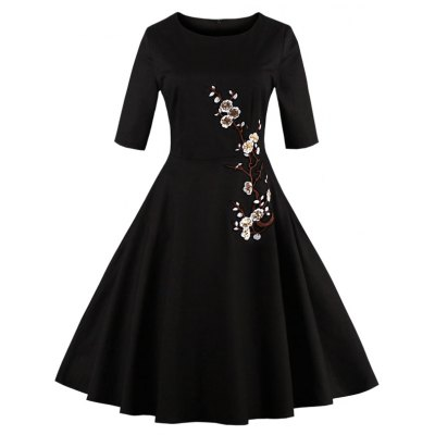 Embroidered Floral Semi Formal Dress