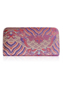 Color Splicing Embroidery Striped Pattern Wallet