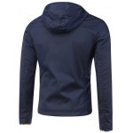 cheap Color Block Edging Hooded Zip-Up Jacket