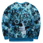 cheap Floral Print Crew Neck Skull Sweatshirt