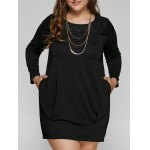 Casual Long Sleeve Plus Size Shift Dress
