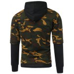 cheap Camouflage Pattern Faux Twinset Splicing Hooded Long Sleeve Hoodie
