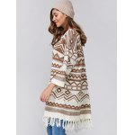 cheap Relaxed Fringe Jacquard Cardigan