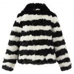 Zippered Striped Fur Jacket photo