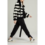 Zippered Striped Fur Jacket for sale
