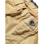 Patched Zipper Pocket Drawstring Chino Jogger Pants deal