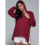 cheap Asymmetrical Side Slit Hoodie