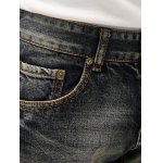 Zipper Fly Narrow Feet Cat's Whisker Distressed Jeans for sale