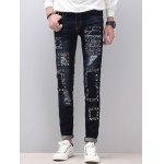 Zipper Fly Narrow Feet Stud Embellished Distressed Jeans
