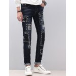 cheap Zipper Fly Narrow Feet Stud Embellished Distressed Jeans