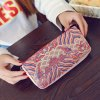 Color Splicing Embroidery Striped Pattern Wallet deal