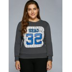cheap Number Stripe Print Sweatshirt
