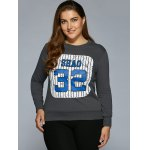 Number Stripe Print Sweatshirt deal