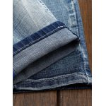 Holes and Cat's Whisker Design Straight Leg Jeans for sale