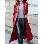cheap Belted Faux Leather Pocket Design Coat