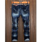 cheap Selvedge Embellished Splicing Distressed Straight Leg Jeans