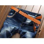 Selvedge Embellished Splicing Distressed Straight Leg Jeans deal