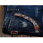 Selvedge Embellished Splicing Distressed Straight Leg Jeans for sale