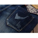 Selvedge Embellished Splicing Distressed Straight Leg Jeans photo