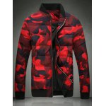 Stand Collar Zip Up Camo Quilted Jacket