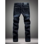 Buy Elasticity Slimming Zipper Fly Straight Leg Jeans 36 DEEP BLUE