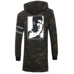 cheap Graphic Print Button Up Camo Hooded High Low Coat