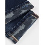 Camo Hemming Design Bleach Wash Straight Leg Jeans for sale
