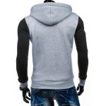 Side Zipper-Up Color Block Hoodie deal