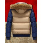 cheap Detachable Faux Fur Hood Zip Up Two Tone Quilted Jacket