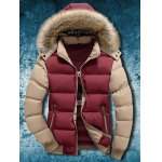 Buy Detachable Faux Fur Hood Zip Two Tone Quilted Jacket 4XL