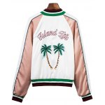 cheap Tropical Embroidered Color Block Souvenir Jacket