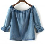 cheap Off The Shoulder Denim Top