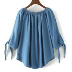 cheap Off The Shoulder Drawstring Chambray Top