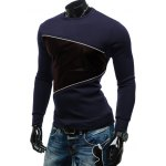 cheap Crew Neck PU Spliced Sweatshirt