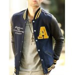 Patch Design Varsity Striped Insert Baseball Jacket for sale