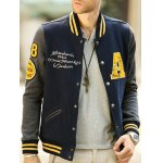 Patch Design Varsity Striped Insert Baseball Jacket deal