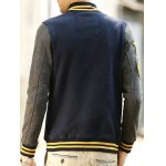 Patch Design Varsity Striped Insert Baseball Jacket photo