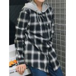 cheap Hooded Loose Checked Shirt