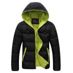 Contrast Zipper Drawstring Hooded Quilted Jacket