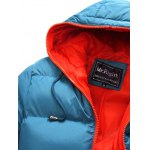 cheap Contrast Zipper Drawstring Hooded Quilted Jacket