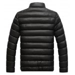 cheap Stand Collar Contrast Zipper Quilted Jacket