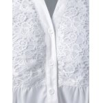 Plus Size Lace Trim Loose Fitting Blouse for sale