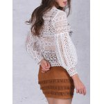 Lantern Sleeve Ruffles Lace Blouse for sale