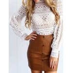 cheap Lantern Sleeve Ruffles Lace Blouse