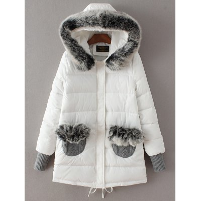 Faux Fur Hooded Pockets Spliced Padded Coat