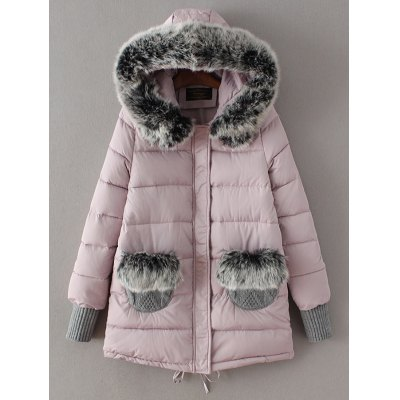 Padded Faux Fur Hooded Coat